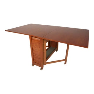 Midcentury Drop-Leaf Apartment Table on Casters With Hideaway Slat-Wood Chairs For Sale