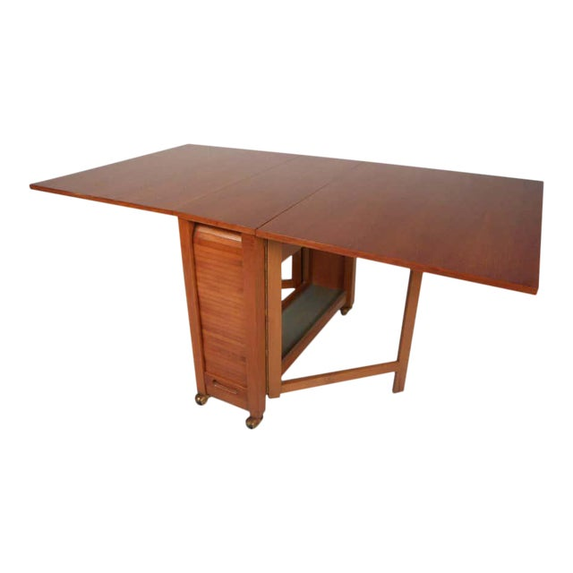 Midcentury Drop Leaf Apartment Table On Casters With Hideaway Slat Wood Chairs Chairish