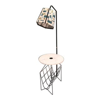 Mid-Century Modern Wire Floor Lamp With Table and Magazine Rack For Sale