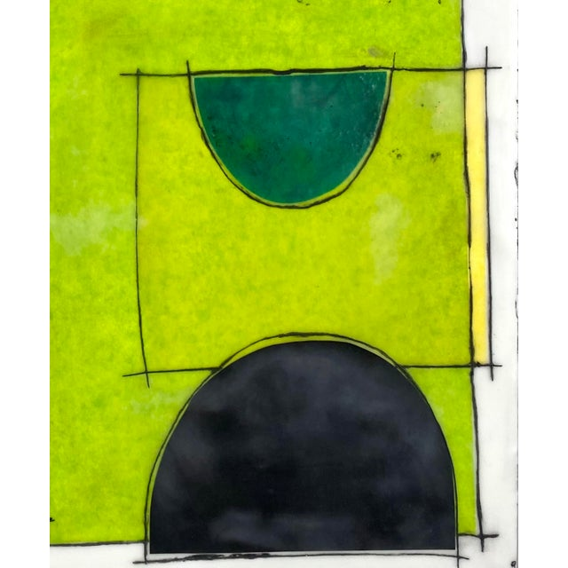 """2020s """"The Green Hour"""" Contemporary Abstract Encaustic Collage Painting by Gina Cochran For Sale - Image 5 of 5"""
