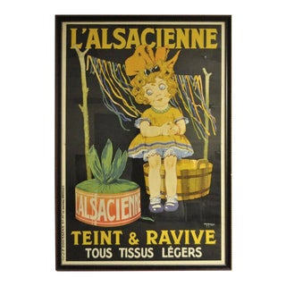 1920s Vintage Original French Art Deco l'Alsacienne Teint & Ravive Ch Roux Poster For Sale