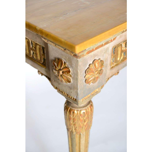 Green Fine Italian Neoclassic Painted and Parcel-Gilt Console, Roman Late 18th Century For Sale - Image 8 of 11
