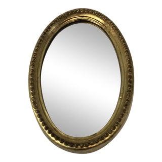 Vintage Oval Gold Leaf Florentine Wall Mirror For Sale