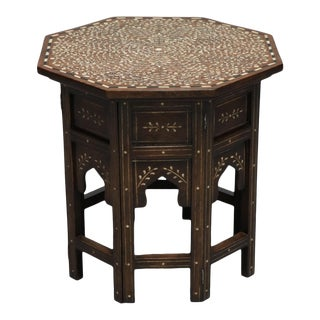 Wood and Bone Inlay Side Table For Sale