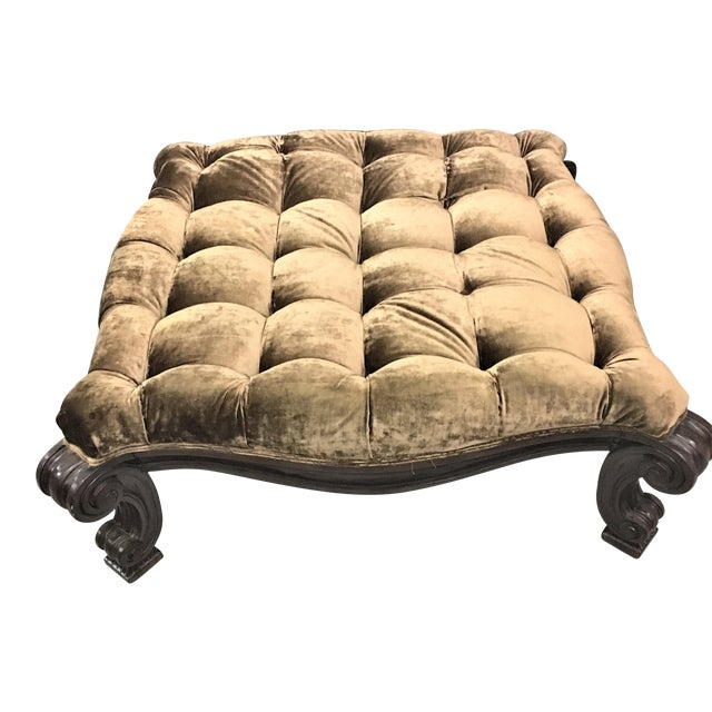 Large Square Velvet Tufted Ottoman With Lion Legs Chairish