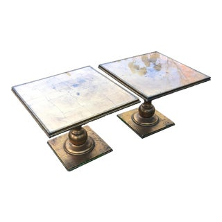 Hollywood Regency Italian Gold Leaf Tables - A Pair For Sale
