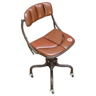 1930s Vintage Industrial Brown Vinyl Segmented Swivel Desk Chair Fritz Cross For Sale