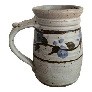 Vintage Painted Floral Pattern Stoneware Mug For Sale