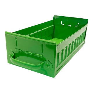 1950s Industrial Card File Drawer by Equipto, Refinished in Lime Green For Sale