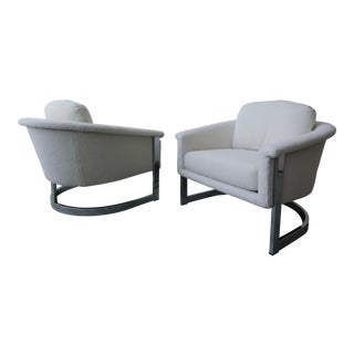 Pair of Mid Century Chrome Barrel Chairs by Milo Baughman For Sale