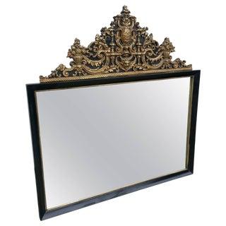1930s Antique French Ebonized Repousse Mirror For Sale