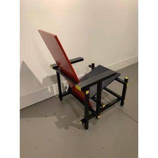 1950s Vintage Gerrit Rietveld Style Red-Blue Mondrian De Stijl Wood Chair Preview