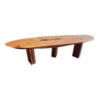 Circa 1975 Brutalist Postmodern Oak and Walnut Bench, United States