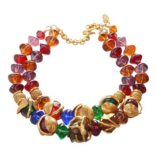 French Art Deco Philippe Ferrandis Gilt Colorful Necklace Paris For Sale