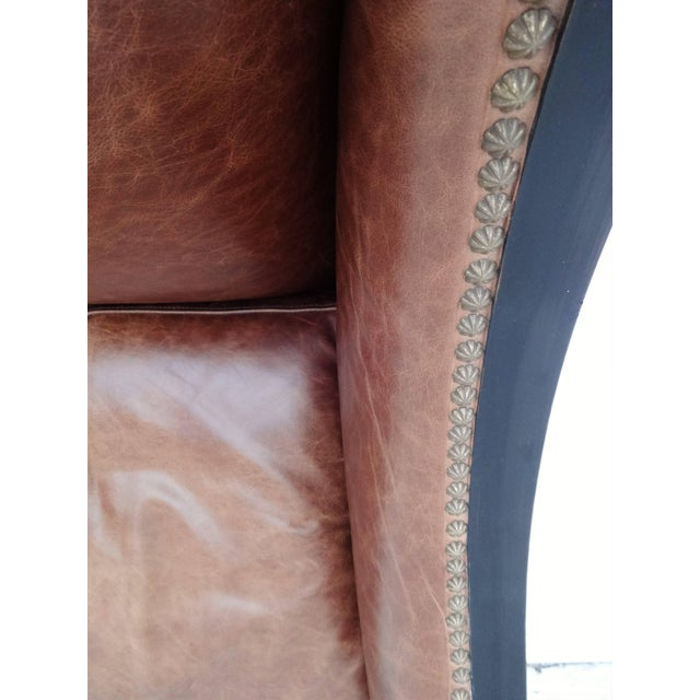 Pair of High Back Leather Club Chairs For Sale In Dallas - Image 6 of 7