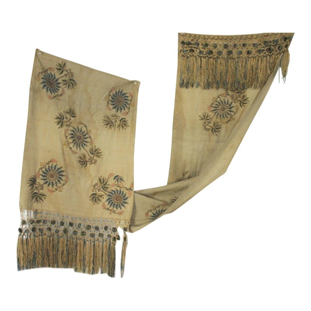 Antique Silk Scarf Metallic Embroidered Ottoman Runner Textile For Sale