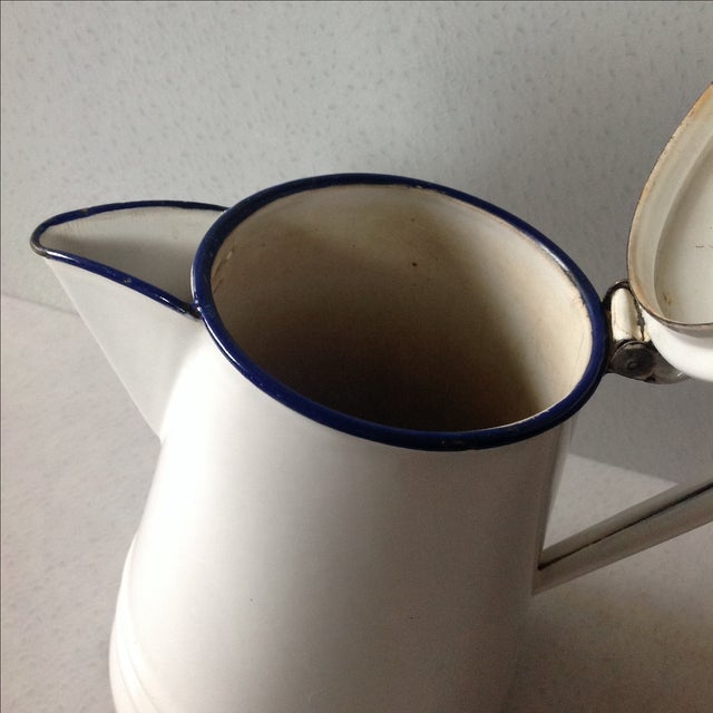 French Country White Enamel Pitcher - Image 7 of 11