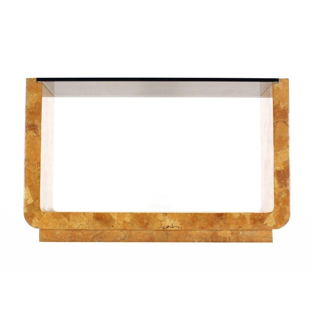 Vintage Mid Century Burl Wood Smoked Smoked Glass Top U-Shape Console Table For Sale - Image 4 of 7