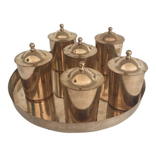 Polished Bronze Serving Pots & Tray For Sale