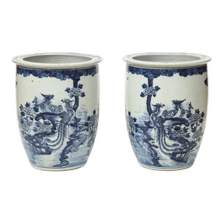 Chinese Blue and White Planters - A Pair For Sale