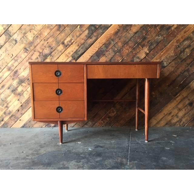 Mid Century Walnut Refinished Desk by Stanley - Image 2 of 7