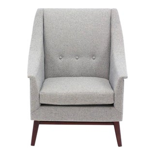 Newly Upholstered Danish Modern Lounge Chair Walnut Base