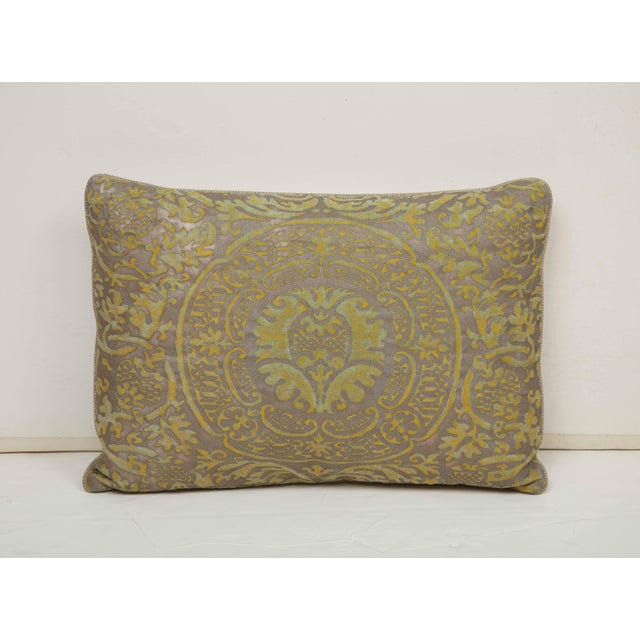Fortuny Pillow in Acid Green and Grey For Sale - Image 9 of 9