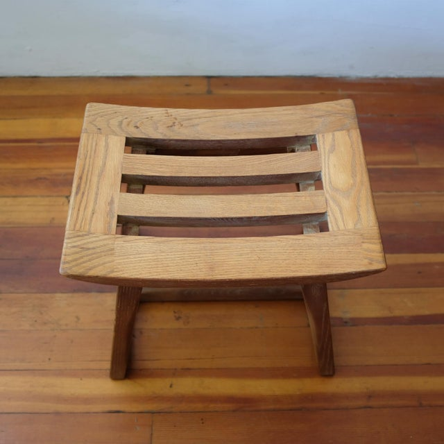 Wood Cerused Oak Stool, 1940s For Sale - Image 7 of 11