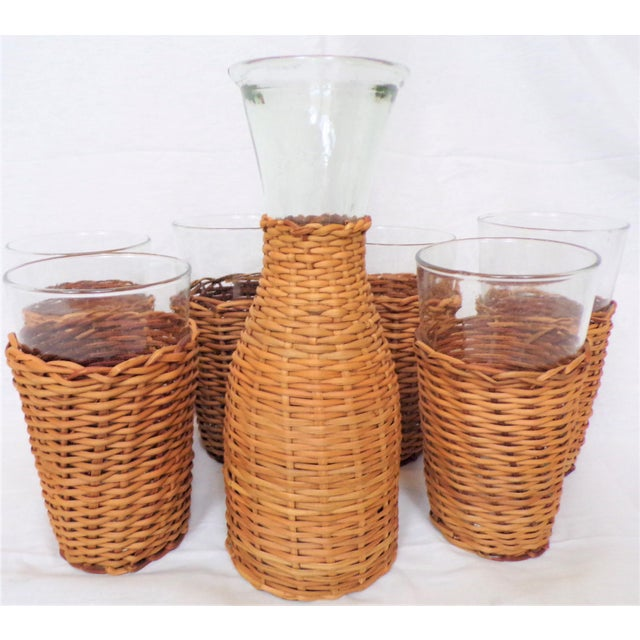 Nautical Vintage Rattan Wine Carafe and Glasses - Set of 7 For Sale - Image 3 of 11