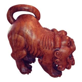 Foo Dog Wooden Sculpture For Sale