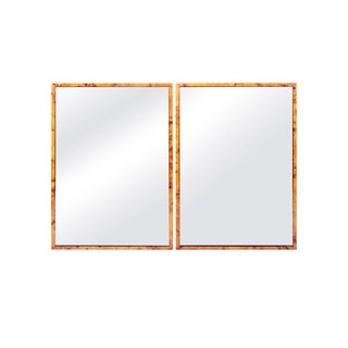 Uttermost Black and Burl Wood Mirrors - a Pair For Sale