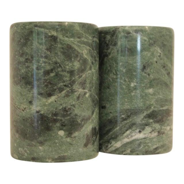 Modernist Sculptural Marble Salt & Pepper Shakers - A Pair For Sale