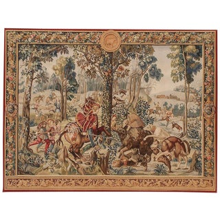 Recreation of a French 17th Century Hunting Tapestry. 6'8 X 8'8 Wide For Sale