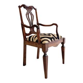 Antique Dutch Armchair in Zebra Hide For Sale