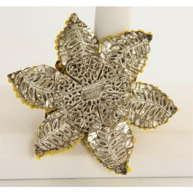 Miriam Haskell Vintage Miriam Haskell Large Beaded Flower Brooch For Sale - Image 4 of 5