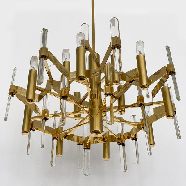 Gold Gold-Plated Brass and Crystal Chandelier by Gaetano Sciolari For Sale - Image 8 of 12