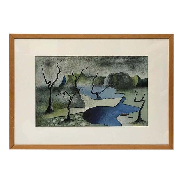 Surrealist Landscape Signed Rothbart For Sale