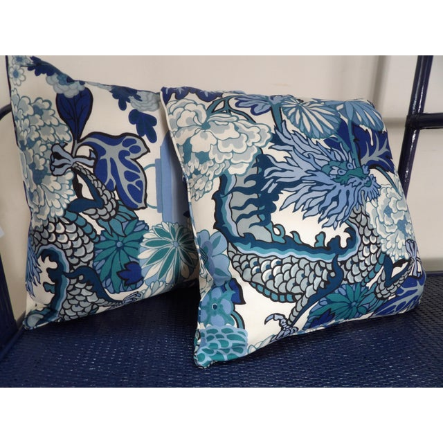 Textile Blues & White Custom Made Pillows With Dragon Design - A Pair For Sale - Image 7 of 7