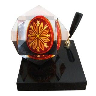 Ukrainian Pysanka Style Decorative Egg in Lucite -Penholder For Sale