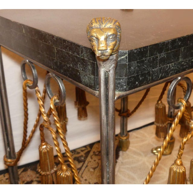 Hollywood Regency Maitland Smith Hollywood Regency Iron & Brass Tassel Table With Brass Lion Heads- a Pair For Sale - Image 3 of 11