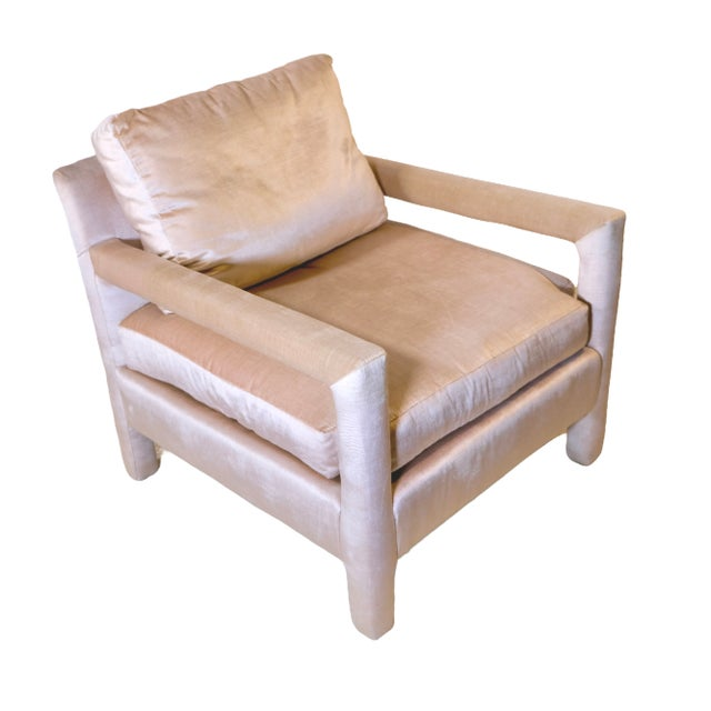Textile Pair of Milo Baughman Style Parsons Chairs in Blush Velvet For Sale - Image 7 of 9