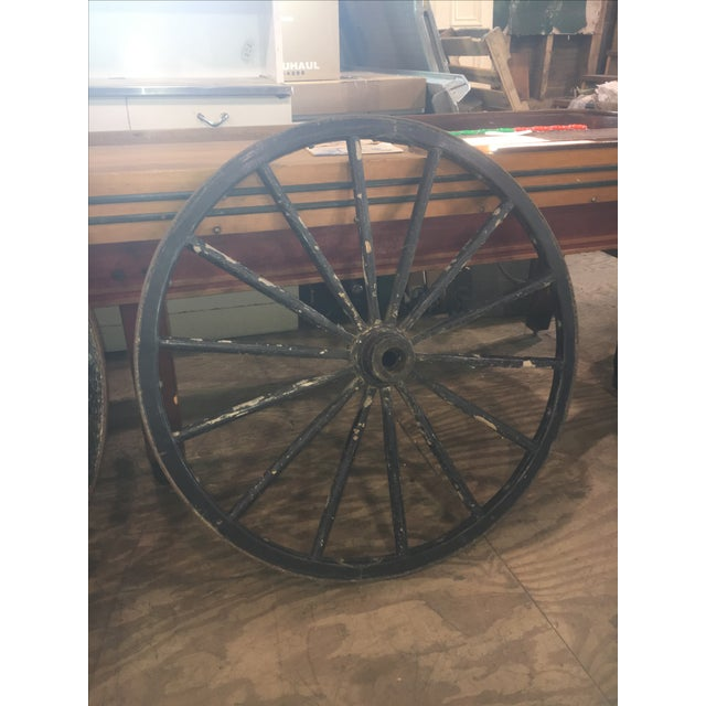 Primitive Large Black Wood Wagon Wheel - Image 3 of 5