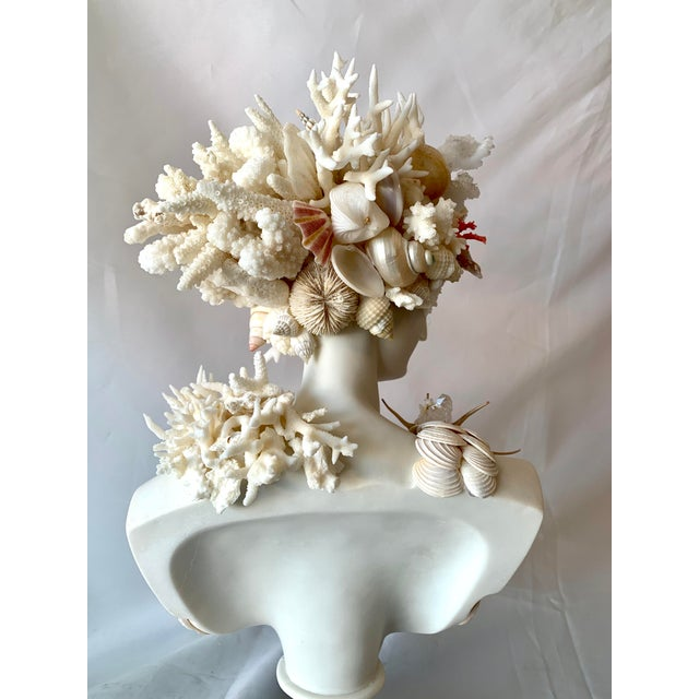Christa's South Seashells Classical Shell-Encrusted Marble Diana For Sale - Image 4 of 9