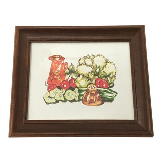 Late 20th Century Kitchen Still Life Vegetables Watercolor Print by T. Cathey For Sale