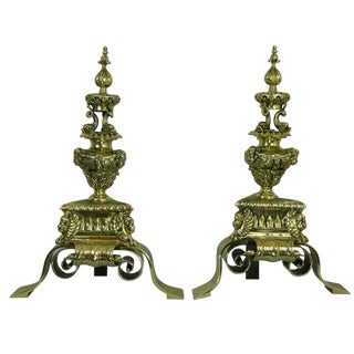 Pair of 19th Century Chenets or Andirons Ly Adorned For Sale