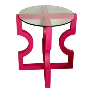 Modern Abstract Hot Pink Side Table With Clear Round Glass Top For Sale