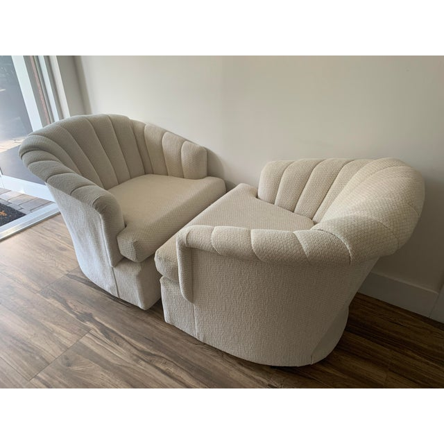 Channel Back Club Chairs in the Manner of Kagan - a Pair For Sale In Miami - Image 6 of 13