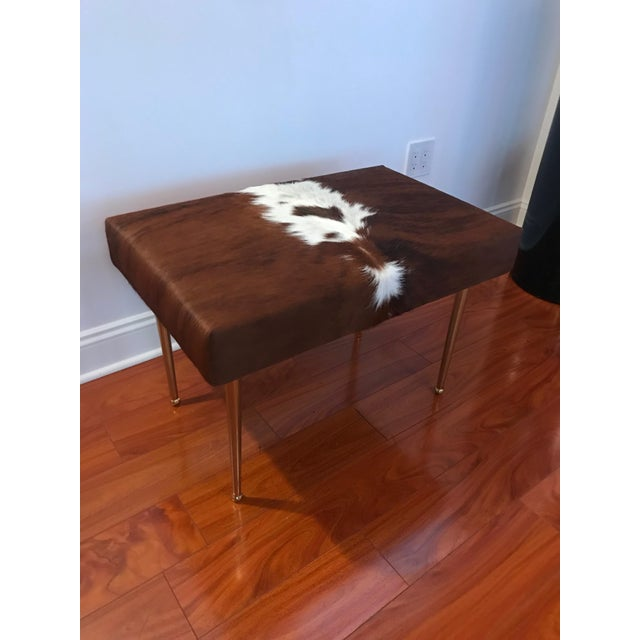 Modern Cow Hide Upholstered Bench With Brass Legs For Sale - Image 12 of 13