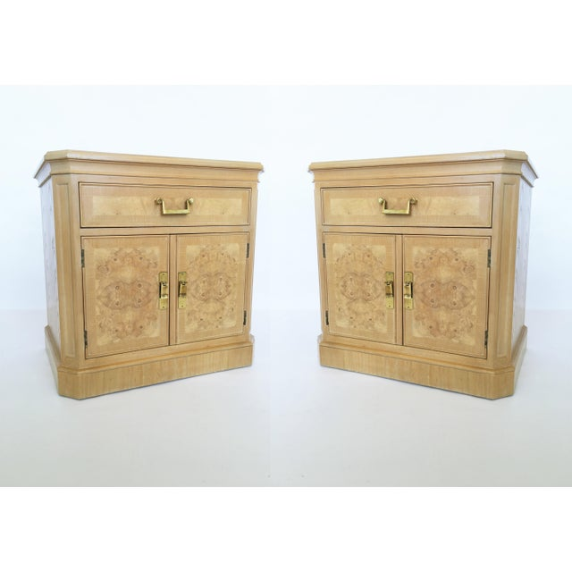 Pair of Mid-Century Modern Heritage Burl Wood Bedside Cabinets For Sale - Image 10 of 10