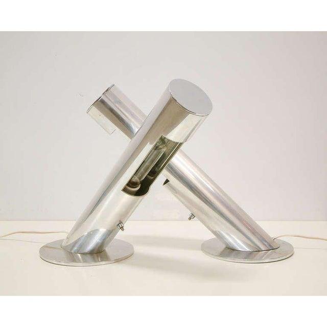 Paul Mayen 1970 Mid-Century Paul Mayen for Habitat Inc Polished Aluminum Lamps - A Pair For Sale - Image 4 of 11